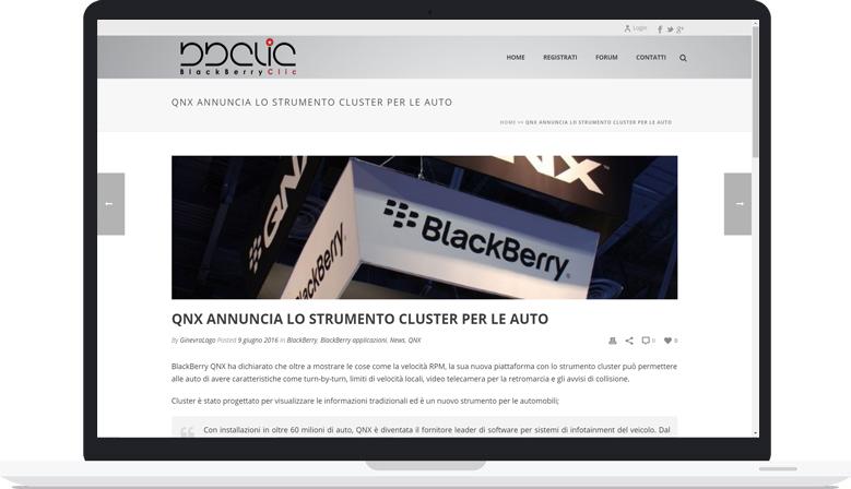 Sito Web News Aggiornabile Blackberry Clic