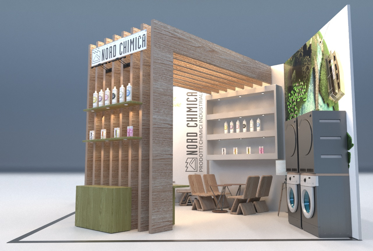 Render Anteprima Stand Fiera in grafica 3d Nord Chimica