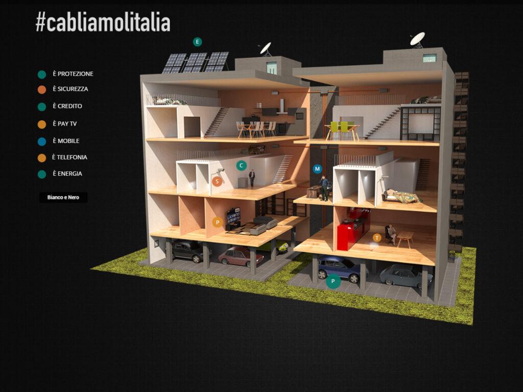 stand promozionale grafica 3d smart building cabliamolitalia
